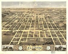 Poster Print Antique American Cities Towns States Map Clinton Illinois