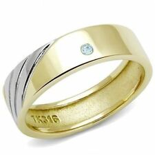K326 MENS WEDDING BAND SEA BLUE ZIRCON 316L STAINLESS STEEL TWO-TONE, GOLD RING