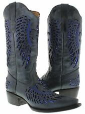 Women's Denim Blue Flower Sequins Leather Cowgirl Boots Pointed Toe