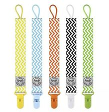 New 5 Pack Lot Quality Blulu Colorful Modern Designs Baby Pacifier Clips Holder