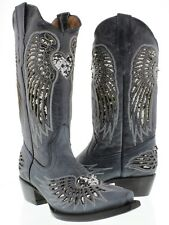 Women's Denim Blue Silver Heart Sequins Leather Cowgirl Boots Pointed Toe
