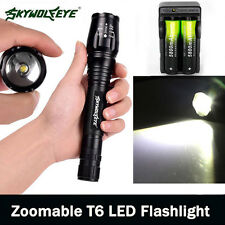 Zoomable 20000LM 5-Mode  XMLT6 LED Flashlight Lamp Light Torch 18650+Charge V