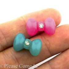 20/100 Kawaii Flatback Bow with Rhinestone Resin Cabochon Decoden Charm