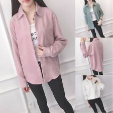 Fashion Women Solid Long Sleeve Corduroy Shirt Tops Button Down Casual Blouse US