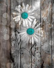Brown Blue Daisy Flowers Rustic Modern Home Decor Wall Art Matted Picture