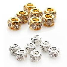 20Pcs Crystal Rondelle Spacer Metal Silver Black Gold Plated Loose Beads