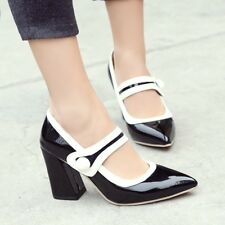 Womens Pointy Toe Casual Shoes High Block Heels Ankle StrapChic Pumps