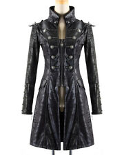 Punk Rave Womens Steampunk Jacket Coat Black Goth Military Punk Faux Leather
