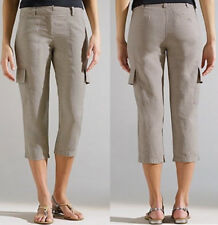 $168 Eileen Fisher Organic Linen Natural Beige Cropped Cargo Pants