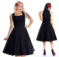8-20 Flattering Black Halter 50's Cotton/Lycra Flared Summer Party Gothic Dress