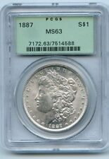 1887 Silver Morgan Dollar (MS 63) PCGS.  OLD GREEN PCGS HOLDER!!