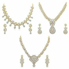 Women Bridal Necklace Set Gold Plated Zircon Jewellery Set for Wedding