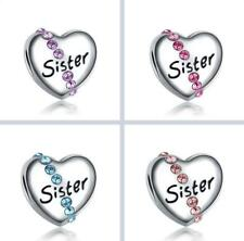 Sister love Silver European CZ Charm Crystal Spacer Beads Fit Necklace Bracelet