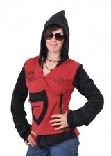 Kunst Und Magie Fleece Jacket with Pointed Hood Goa Psy Hippie Fraggle Red/
