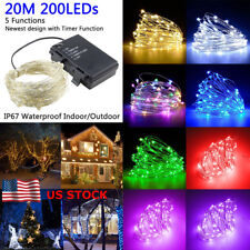 US Waterproof 20M Battery Operate LED Fairy Lights String Light Lamp Decoration