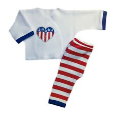 USA Stripes and Heart Unisex Baby Outfit - 4 Preemie and Newborn Infant Sizes