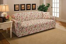 """CLEARANCE--PINK FLORAL COVERS FOR SOFA COUCH LOVESEAT CHAIR RECLINER-""""STRETCHES"""""""
