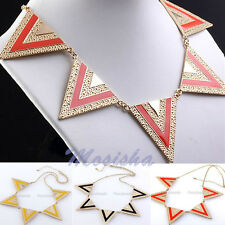 1p Punk Style Metal Big Triangle Geometry Gold Chic Necklace Bib Lady's Jewelry