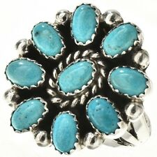 Turquoise Cluster Ring Sterling Silver Band Navajo Lenora Begay Womens s6-8