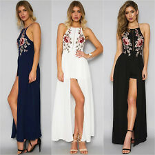Women's Slip Long Dress Square Neck X-Back Embroidered Slit Party Evening Prom