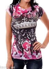 Pink Camo Wing Crown Rhinestone Sublimation Cap Sleeve Tee Top M L XL