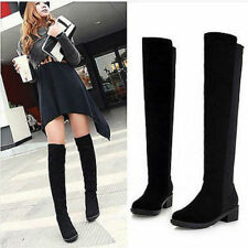 WINTER WOMENS OVER THE KNEE CHUNKY PLATFORM MID HEEL STRETCH BOOTS SHOES