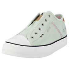 Mustang Laceless Low Top Womens Pastel Green Canvas Trainers