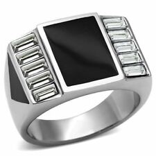 712 MENS SIGNET SIMULATED DIAMOND  STAINLESS STEEL ONYX EMERALD CUTS  RING