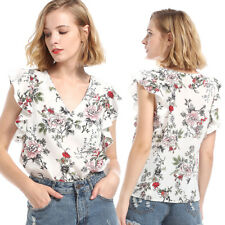 Women Summer Chiffon Flower Loose Shirt Lady V-Neck Casual Sleeveless Blouse Top