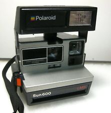 Vintage Polaroid Sun 600 LMS Instant Camera w/ Flash Carrying Strap Tested Works