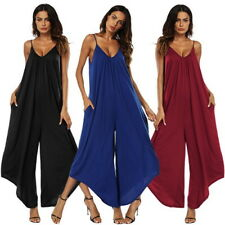 Summer Womens Romper Casual Loose Jumpsuit Sleeveless Sling Wide Leg Trousers