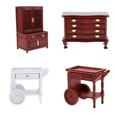 Dolls House Miniature Wooden Furniture Tea Table Cart Display Cabinet 1:12 Scale