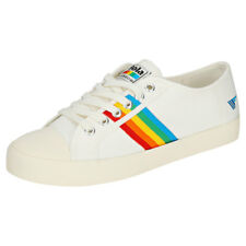 Gola Coaster Rainbow Womens Off White Multicolour Canvas Trainers