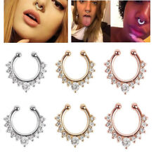 Women 1pcs Fake Clip On Non Piercing Crystal Septum Nose Ring Faux Clicker