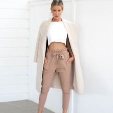 Women's solid High Waist Casual Drawstring Long Pants OL Pencil Trousers