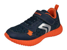 Geox J Waviness B.A Kids Casual Sneakers Pull-On Strap Closure Shoes Navy Orange