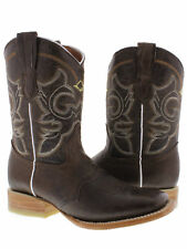 Womens Brown Mid Calf Western Wear Leather Cowboy Boots Short Square Rodeo