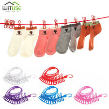 185CM ELASTIC CLOTHESLINE WITH 12 CLIPS PORTABLE TRAVEL CLOTHES HANGING ROPE 30