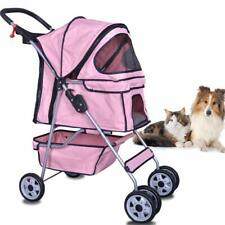 4 Wheels Pet Stroller Cat Dog Cage Stroller Travel Folding Carrier With Cup Hold