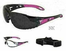 Womens REMOVABLE Foam Padded Motorcycle Safety Glasses Sunglasses ANSI Z87 PINK