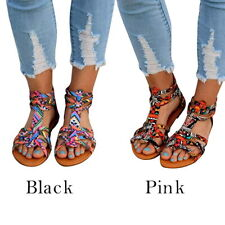 US Womens Boho Flat Sandals Trendy Ankle Strap Open Toe Sandals Beach Shoes 520