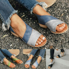 Womens Slip On Flats Sandals Slippers Ladies Peep Toes Summer Beach Casual Shoes