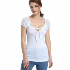 Women Lace Short Sleeve Sexy Low Neck Blouse Tops Casual Shirt Summer T Shirts