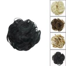 As Human Real Messy Rose Bun Curly Easy-To-Wear Stylish Top Hair Piece Scru R4P2