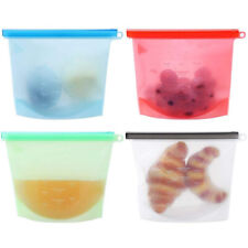 4 Pack Reusable Silicone Food Storage Bags Healthy Airtight Leakproof Ziplock