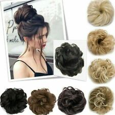 100% Natural Curly Messy Bun Hair Piece Scrunchie Hair Extensions Wavy as Human