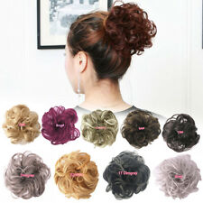100% Natural Human Curly Messy Bun Hair Piece Scrunchie Updo Wigs