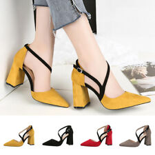 Summer Ladies Women High Block Heel Point-Toe Sandal Buckle Strappy Office Shoes