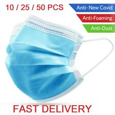 + 50pcs Disposable Face Guard Dust Mouth 3 Ply Cover Air purifying Maask.