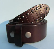 Snap on Leather Belt with Studs Brown